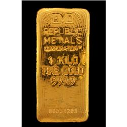 BULLION:  One Kilo 999.9 fine gold bar; Republic Metals Corp; Serial 06051203; 998.4 grams.