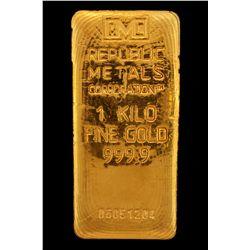 BULLION:  One Kilo 999.9 fine gold bar; Republic Metals Corp; Serial 06051204; 998.2 grams.