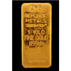 BULLION:  One Kilo 999.9 fine gold bar; Republic Metals Corp; Serial 06271214; 998.4 grams.