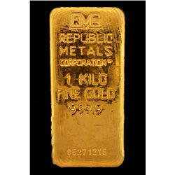 BULLION:  One Kilo 999.9 fine gold bar; Republic Metals Corp; Serial 06271215; 998.4 grams.