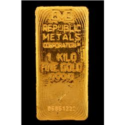 BULLION:  One Kilo 999.9 fine gold bar; Republic Metals Corp; Serial 06051222; 998.4 grams.