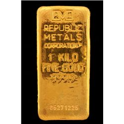 BULLION:  One Kilo 999.9 fine gold bar; Republic Metals Corp; Serial 06271225; 998.4 grams.