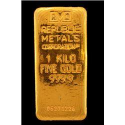 BULLION:  One Kilo 999.9 fine gold bar; Republic Metals Corp; Serial 06271226; 998.5 grams.