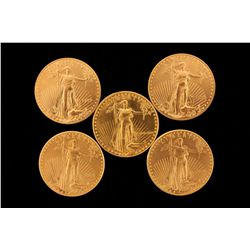 GOLD:  [5] US gold Eagle coins, 1 oz., each