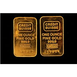 GOLD:  [2] Credit Suisse 999.9 gold bars, 1 oz. each