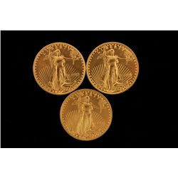 GOLD:  [3] US gold Eagle coins, 1/4 oz., each