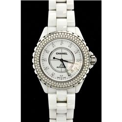 WATCH:  [1] White ceramic and stainless steel ladies Chanel J12 automatic watch with diamond markers