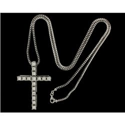 CHAIN & PENDANT:  [1] 14KWG franco link chain;  and [1] 14KWG cross pendant set with 16 princess cut