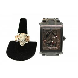 "RING: Men's 14kw&r Steve Soffa ""Skull King""  diamond & ruby ring; 27 rb dias, 1.2mm - 1.3mm & 3.0mm"