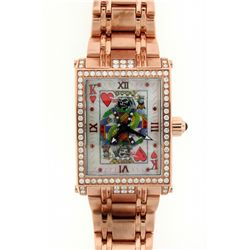 WATCH: Men's rose gold plated st.steel Hardcore Watch Co Suicide King diamond wristwatch; rect case,