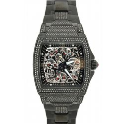 WATCH: Men's black plated st.steel Hardcore Watch Co Lost Skulls black diamond wristwatch; cushion c