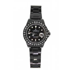 ROLEX: Men's aftmkt black coated st.steel Rolex O.P. Explorer II Date wristwatch w/ aftmkt black dia