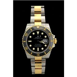 ROLEX: Men's st.steel & 18ky Rolex O.P. Submariner Date wristwatch; black dial w/ lumin markers; 18k