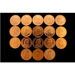BULLION: Eighteen (18) South Africa Krugerrand gold coins; 916 AU (1 troy ounce avg each).