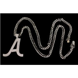 "PENDANT: Men's 14kw initial ""A"" pave diamond pendant; 630 rb dias, 1.4mm = est 7.56cttw, Good/G-J/I1"