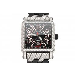 WATCH: Men's black coated st.steel Franck Muller Cortez Conquistador wristwatch w/ aftmkt pave diamo