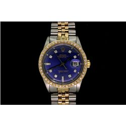 WATCH:  [1] 18KYG and stainless steel gts. Rolex Oyster Perpetual Datejust watch with blue aftermark