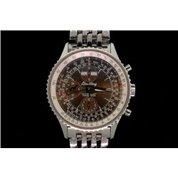 WATCH: Men's st.steel Breitling Navitimer Montbrilliant Datora chronograph wristwatch; brown dial &