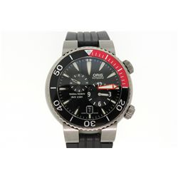 WATCH: Men's titanium Oris TTI Teistertaucher Regulateur wristwatch; unidirectional bezel w/ black-r