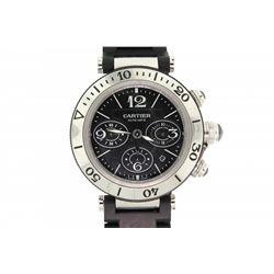 WATCH: Men's st.steel & black rubber Cartier Pasha SeaTimer chronograph wristwatch; 41.5mm round cas
