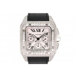 WATCH: Men's st.steel Cartier Santos 100 chronograph wristwatch w/ aftmkt diamond apptmnts; silver d