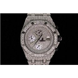 WATCH: Men's st.steel Audemars Piguet Royal Oak Off-Shore chronograph wristwatch w/ aftmkt pave diam