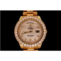 ROLEX: Men's 18ky Rolex O.P. Day Date II wristwatch w/ aftmkt diamond apptmnts; 41mm case; white MOP