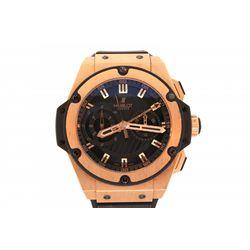 WATCH: Men's 18kr Hublot Big Bang King Power Foudroyante chronograph wristwatch; 48.3mm case; black