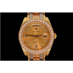 ROLEX: Men's 18ky Rolex O.P. Day Date MasterPiece diamond wristwatch; champagne jubilee dial w/ 8 rd