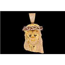 PENDANT: Men's 18ky head of Jesus motif diamond pendant; 332 rb dias, 1.5mm to 2.6mm = est 7.96cttw,