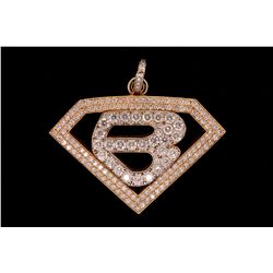 PENDANT: Men's 14ky&w initial B diamond pendant; open diamond shape (similar to Superman logo); 179