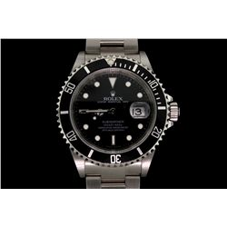 WATCH:  [1] Stainless steel gts. Rolex Submariner Oyster Perpetual Date watch with a black dial, rot