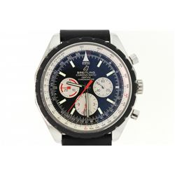 WATCH: Men's st.steel Breitling Navitimer Chrono-Matic wristwatch; 49mm round case; black dial w/ 3