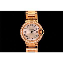 WATCH:  [1] 18KRG ladies Cartier Ballon Bleu quartz watch set with 30 rd dia.s, TWA 1.05, F/G, VS; m