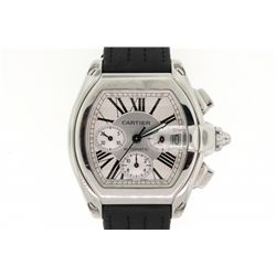 WATCH: Men's st.steel Cartier Roadster chronograph wristwatch; silver dial w/ 3 oval sub-dials, blac