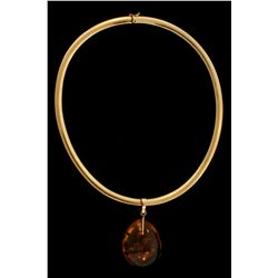 """NECKLACE:  [1] 14KYG Omega style necklace, 5.7mms wide, 16""""s long; and [1] 14KYG pendant set with a"""