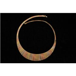 "NECKLACE:  [1] 14K tri-gold fringe style necklace with a textured finish; 16""s; 28.5 grams"