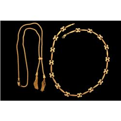 """NECKLACE:  [1] 14KYG fancy link style chain necklace; 17 1/2""""s; 13.0 grams NECKLACE:  [1] 14KYG lari"""