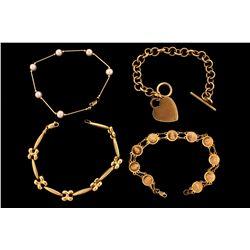 "BRACELET:  [1] 14KYG fancy link style chain bracelet; 7 1/2""s; 5.6 grams BRACELET:  [1] 14KYG bracel"