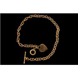 "NECKLACE:  [1] 14KYG rolo chain necklace with a heart shaped charm attached; 17 1/2""s; 27.0 grams"
