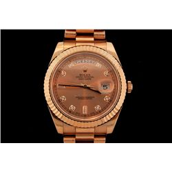 ROLEX: Men's 18kr Rolex O.P. Day Date II wristwatch; 41mm round case; rose dial w/ 2 bag & 8 rd diam