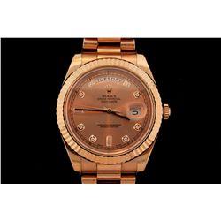 ROLEX: Men's 18kr Rolex O.P. Day Date II wristwatch; 41mm round case; rose dial w/ 2 bag & 8 rd diam