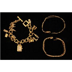 """BRACELET:  [1] 14KYG bracelet with large cats on links and set with synthetic clear stones; 7 1/4""""s'"""