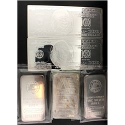 BULLION: Three (3) fine silver 10 ounce bars; .999 fine silver; 2 Engelhard, serial C564571 & C56458
