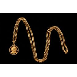 """NECKLACE:  [1] 18KYG curb link chain necklace, 25""""s, 33.9 grams; and [1] 14KYG religious pendant wit"""