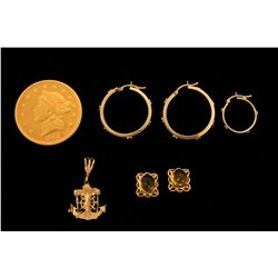 COIN:  [1] Gold plated $20 US coin replica in a plastic case, dated 1849, 26.6 grams  ('COPY' stampe