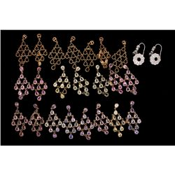 EARRINGS: Seven & one half (7.5) pairs 14ky fancy color sapphire dangle earrings; 150 pear saphs, ap