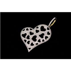 PENDANT: Lady's 18kw heart motif diamond pendant; approx 320 rb dias, 1.2mm - 1.5mm = est 2.80cttw,