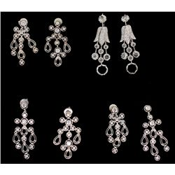 EARRINGS: Pair ladies 18kw diamond dangle earrings; 14 rose cut dias, 2.0mm - 4.3mm = est 0.81cttw,