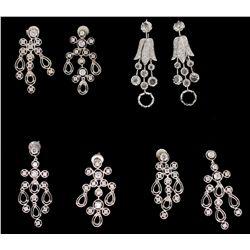 EARRINGS: Pair ladies 18kw diamond dangle earrings; 14 rose cut dias, 2.0mm - 4.3mm = est 0.81cttw,
